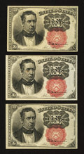 Fractional Currency:Fifth Issue, Fr. 1266 10¢ Fifth Issue. Three Examples.. ... (Total: 3 notes)