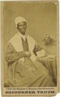 Photography:CDVs, Sojourner Truth Carte de Visite. Born into slavery asIsabella Baumfree (after her father's owner) in New York, thishis...