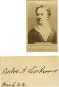 Autographs:Celebrities, Belva Lockwood Tobacco Card and Autograph. One of the rarest of alltobacco cards and one missing from even the most sophist... (Total:2 )