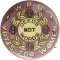 Political:Pinback Buttons (1896-present), Super Rare W.P.U. Suffrage Pinback, 25mm diameter, yellow and whitewith a lavender background. A sharp and bright example. ...