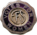 Political:Pinback Buttons (1896-present), Very Rare Equal Franchise Society Lapel Pin, marked sterling silver with enameled face and attached brass clasp on the back,...