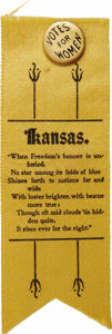 """Political:Ribbons & Badges, Kansas Suffrage Ribbon With Pinback Button, 2"""" x 5.5"""" overall, black ink on gold cloth, circa 1912. A """"Votes For Women"""" pinb..."""