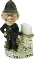 """Political:3D & Other Display (1896-present), No Votes Policeman Standing Figure 6"""" tall, with excellent surface and made of porcelain. Within the suffrage collecting hob..."""