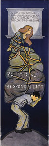 """Political:Posters & Broadsides (1896-present), """"Political Responsibility"""" Suffrage Poster. In deep blue tones with subtle shading, this poster relates the struggle of wome..."""