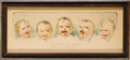 """Political:Posters & Broadsides (1896-present), Cute Framed Poster of Babies With Suffrage Motif. Cardboard, 16.5"""" x 6.75"""", framed under glass to an overall size of 18.5"""" x..."""