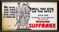 """Political:Posters & Broadsides (1896-present), Spectacular WWI Suffrage Trolley Sign. Trolley sign, cardboard, 21""""x 11"""" , framed under glass to an overall size of 22"""" x 1..."""