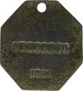 Antiques:Black Americana, 1800 Charleston MECHANIC Slave Hire Badge. Number 183. A flatoctagonal-shaped tag with a hole at the top for suspension, 40...