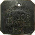 Antiques:Black Americana, 1814 Charleston PORTER Slave Hire Badge. Number 108. A slightly convex square-shaped (as they were in even-numbered years du...