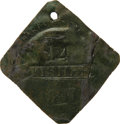 Antiques:Black Americana, 1817 Charleston FISHER Slave Hire Badge. Number 14. A flat diamond-shaped (as expected in odd-numbered years during this per...