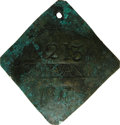 Antiques:Black Americana, 1817 Charleston SERVANT Slave Hire Badge. Number 213. A convexdiamond-shaped (as expected in odd-numbered years during this...