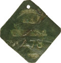 Antiques:Black Americana, 1825 Charleston PORTER Slave Hire Badge. Number 478. A flatdiamond-shaped tag with clipped corners and a hole at the top fo...