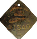 Antiques:Black Americana, 1825 Charleston SERVANT Slave Hire Badge. Number 1340. A slightlyconvex diamond-shaped tag with clipped corners and a hole ...