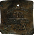 Antiques:Black Americana, 1828 Charleston PORTER Slave Hire Badge. Number 412. A flat square-shaped tag (as they were in even-numbered years during th...
