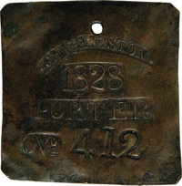 1828 Charleston PORTER Slave Hire Badge. Number 412. A flat square-shaped tag (as they were in even-numbered years durin...