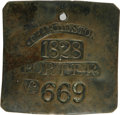 Antiques:Black Americana, 1828 Charleston PORTER Slave Hire Badge. Number 669. A slightlyconvex square-shaped tag (as they were in even-numbered year...