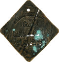 Antiques:Black Americana, 1830 Charleston SERVANT Slave Hire Badge. Number 949. A flat diamond-shaped tag with slightly clipped corners with a hole at...