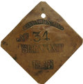 Antiques:Black Americana, 1833 Charleston SERVANT Slave Hire Badge. Number 34. A slightly convex diamond-shaped tag with clipped corners and a large h...