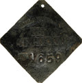 Antiques:Black Americana, 1832 Charleston SERVANT Slave Hire Badge. Number 1659. A slightlyconvex diamond-shaped tag with clipped corners and a hole ...