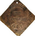 Antiques:Black Americana, 1836 Charleston SERVANT Slave Hire Badge. Number 645. A slightlyconvex diamond-shaped tag with clipped corners and a hole a...