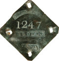 Antiques:Black Americana, 1839 Charleston SERVANT Slave Hire Badge. Number 1247. A flat diamond-shaped tag with clipped corners, 58mm x 60mm. Interest...
