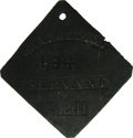 Antiques:Black Americana, 1841 Charleston SERVANT Slave Hire Badge. Number 494. A slightlyconvex diamond-shaped tag with clipped corners and a hole f...