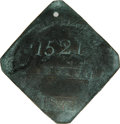 Antiques:Black Americana, 1842 Charleston SERVANT Slave Hire Badge. Number 1521. A slightlyconvex diamond-shaped tag with clipped corners and a hole ...