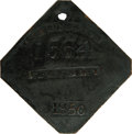 Antiques:Black Americana, 1850 Charleston SERVANT Slave Hire Badge. Number 1564. A flat diamond shaped tag with clipped corners and a hole at the top ...
