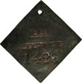 Antiques:Black Americana, 1851 Charleston SERVANT Slave Hire Badge- NGC Certified. Number1429. A slightly convex diamond-shaped tag with unclipped co...