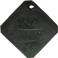 Antiques:Black Americana, 1852 Charleston MECHANIC Slave Hire Badge. Number 252. A nearlyflat diamond-shaped tag with clipped corners and a hole at t...