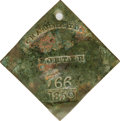 Antiques:Black Americana, 1859 Charleston PORTER Slave Hire Badge. Number 766. A nearly flatdiamond-shaped tag with a hole for suspension, 53mm x 53m...