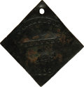Antiques:Black Americana, 1859 Charleston SERVANT Slave Hire Badge. Number 448. A slightly concave diamond-shaped tag with unclipped corners and a hol...