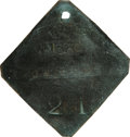 Antiques:Black Americana, 1860 Charleston PORTER Slave Hire Badge- NGC Certified. Number 211.A very slightly convex diamond-shaped tag with clipped c...