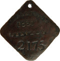 Antiques:Black Americana, 1860 Charleston SERVANT Slave Hire Badge. Number 2175. A slightlyconvex diamond-shaped tag with clipped and rounded corners...