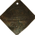 Antiques:Black Americana, 1860 Charleston SERVANT Slave Hire Badge. Number 2679. A slightlyconvex diamond-shaped tag with clipped corners and a hole ...