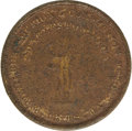 Antiques:Black Americana, 1846 W. W. Wilbur Token Advertising a Charleston Slave Auctioneer. 27mm. Obverse pictures an auctioneer at center standing l...