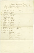"Antiques:Black Americana, Roster of African-Americans Receiving Federal Passes. Manuscriptdocument, ""list of oyster men that passes have been issue..."