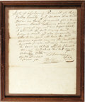 """Antiques:Black Americana, 1826 Alabama, Dallas County, Slave Sale Document. One page, 7.75"""" x 9.75"""", handwritten, dated February 4, 1826, framed under..."""