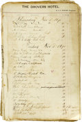 Western Expansion:Cowboy, 1870-1871 Hotel Register From The Drovers Hotel Pueblo, Colorado.This historically significant register will be a valuable ...