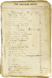 1870-1871 Hotel Register From The Drovers Hotel Pueblo, Colorado. This historically significant register will be a valua...