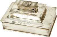 """Beautiful Hotel Cody Sterling Cigar Box. An attractive three-tiered box, 9.5"""" x 6.25"""" x 4.75"""", from the H..."""