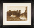 "Photography:Official Photos, Edward S. Curtis Original Portfolio Photogravure ""An AssiniboinCamp"" Plate 107 on Zonen Holland Van Gelder paper, copyright..."