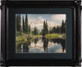"""Photography:Signed, Norman Edson Original Hand Tinted Photograph of Mirror Lake at Mount Rainier Signed at the lower left """"Norman Edson ©"""" in wh..."""