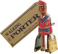 Antiques:Toys, Marx Mechanical Walking Porter in Original Box. . Tin toy with litho design of a Negro Red Cap porter carrying suitc...