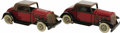 "Antiques:Toys, Lot of Two Marx Red and Brown Sedans Wind-up Toys. . Tinwith red, brown, and black litho design, 3"" high and 8"" lo...(Total: 2 )"