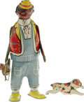 """Antiques:Toys, Marx Hey-Hey The Chicken Snatcher Wind-up Toy.. Tin litho, 8"""" tall, Marx maker's mark on bottom of each shoe, April ..."""
