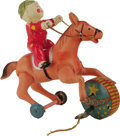 "Antiques:Toys, Circus Horse and Clown Wind-up Toy in Original Box.. Celluloid horse and clown, metal wheels and drum, 7"" long x 7"" tall, ma..."