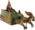 "Antiques:Toys, Ferdinand Strauss Santee Claus Wind-up Toy.. Tin litho, 12""long, Strauss mark on back of sleigh, and December 11, 1..."
