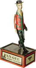 "Antiques:Toys, C. E. Carter Company Pan-Gee The Funny Dancer Wind-up Toy..Tin litho, 10.25"" tall, Carter's Toys marked on base.. ..."