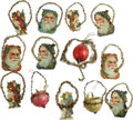 Antiques:Decorative Americana, Early Glass and Paper Christmas Ornaments decorated with foiledgarland. The three glass ornaments are in fine condition wit...