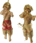 Antiques:Decorative Americana, Bisque Early Christmas Cupids with wig and wings. These are an attic find and still retain some dirt but have no breaks or c...